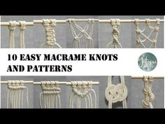 10 Easy Macrame Knots and Patterns that you can use for any Macrame piece! Lark's Head Knot Square Knot Alternating Square Knot Spiral Knot Do. Macrame Design, Macrame Art, Macrame Projects, Macrame Knots, Micro Macrame, Macrame Wall Hanging Patterns, Macrame Patterns, Youtube, Plant Hanger