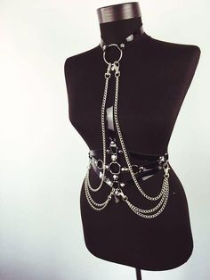 da76ed2c83 Leather Body Harness with Chains Chest Harness Leather Top  bodyjewellery Body  Jewelry