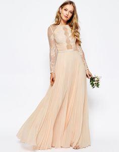 ASOS WEDDING Pretty Lace Eyelash Pleated Maxi Dress - Nude $161.00 AT vintagedancer.com