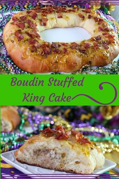 This Boudin stuffed king cake is a savory twist of classic Mardi Gras treat. The dough is slightly sweet and stuffed with spicy boudin. Donut Recipes, Easy Cake Recipes, Gourmet Recipes, Cajun Recipes, Meat Recipes, Recipies, Dinner Recipes, Boudin King Cake Recipe, King Cake Cheesecake Recipe
