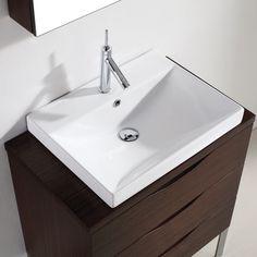 "Madeli Milano Walnut 30"" Modern Single Sink Bathroom Vanity MIlano-30-WA at DiscountBathroomVanities.com"