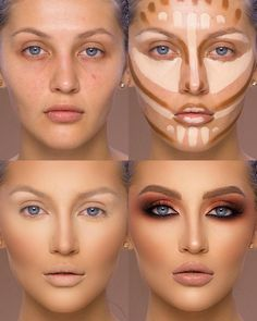 37 Tutorial for pretty makeup for beginners and students 2019 - Beauty Make-Up Best Contouring Products, Contouring And Highlighting, Best Makeup Products, Makeup Contouring Tutorial, Lip Contouring, Best Highlighter Makeup, Drag Makeup Tutorial, Highlight Contour Makeup, Liquid Makeup