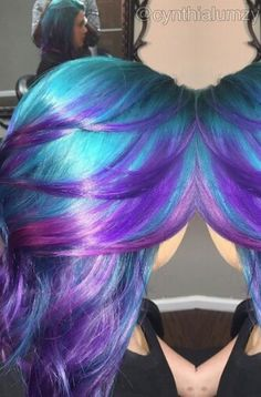 Turquoise blue purple dyed hair