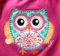 M2M Fabric Owl Applique Design - Just Peachy Applique