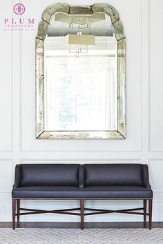 Plum Furniture - entrances/foyers - The Isabella Bench, antiqued mirror, large antiqued mirror, foyer mirror, mirror over bench, mirror abov...