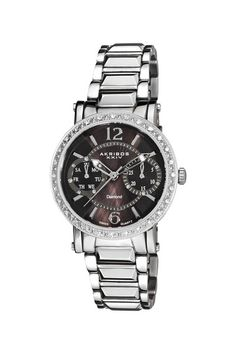 Women's Swiss Quartz Diamond Stainless Steel Watch by Akribos XXIV $118.00  was 695.00  83% off  - Movement: Swiss ISA 9231/1890 quartz  - Crystal: Krysterna  - Case Diameter: 36mm  - Case Thickness: 10.9mm  - Water Resistant: 5 ATM/50 meters/165 feet  - Bracelet Length: 8.5 inches  - Color: Stainless steel  - Case: Ion-plated stainless steel  - Bracelet: Ion-plated stainless steel  - Dial: Diamond design, .065 ct