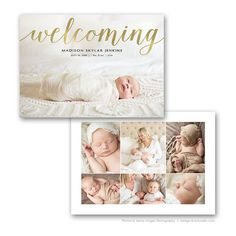 Birth Announcement Card 7X5 Photo Card Template by FOTOVELLA