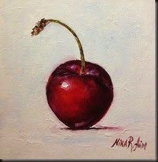 "Daily Paintworks - ""Cherry ""Bella"". Oil on canvas panel 6x6 inches"" - Original Fine Art for Sale - © Nina R. Aide"