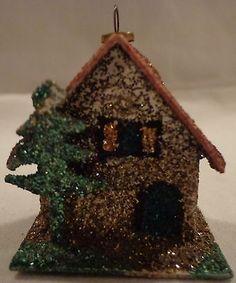 VINTAGE-WESTERN-GERMANY-CHRISTMAS-ORNAMENT-CARDBOARD-MICA-HOUSE-GLITTER-GERMAN
