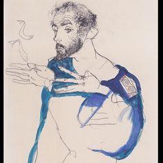 Egon Schiele 'Gustav Klimt in blue Painters Smock' 1913