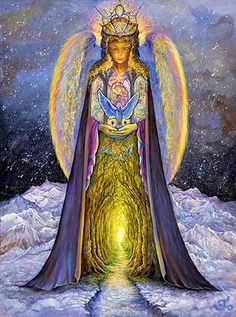 Josephine Wall   Angel With The Blue Cat
