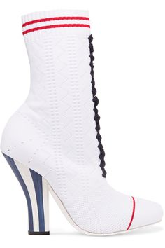 Fendi - Stretch-knit Ankle Boots - White - IT40.5