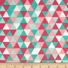 Riley Blake The Cottage Garden Triangles Teal from @fabricdotcom  Designed by The Quilted Fish for Riley Blake, this cotton print is perfect for quilting, apparel and home decor accents.  Colors include white, shades of pink and shades of aqua.