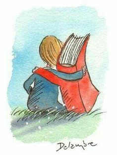 Books are friends. - illustration by Delambre (?), via Caption This on themindsjournal I Love Books, Books To Read, My Books, Stack Of Books, Reading Art, Love Reading, Children Reading, Quotes On Reading, World Of Books