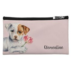 Pit Bull Puppy Holding Lotus Flower Painting Makeup Bag - portrait gifts cyo diy personalize custom