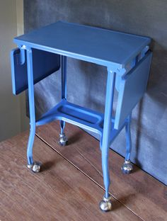 Vintage Sky Blue Metal Typewriter Table by Amys Old School - GAH!!  I just bought this table in teal at the Habitat for Humanity store for $7!  Score!