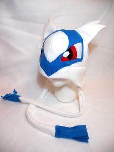 Pokemon Inspired Latios Fleece Hat MADE TO ORDER by Higginstuff