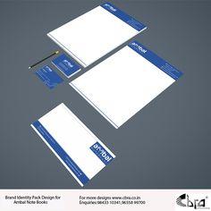 Ambal Note Books Brand Identity Pack Brand Identity Pack, Book Design, Packing, Notes, Bag Packaging, Report Cards, Notebook, Brand Identity Design