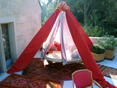 Floating Bed terrace decor, tent legs close and protect from rain.