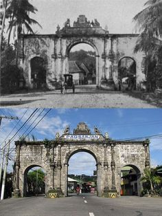 Dito, Noon: Pagsanjan Stone Arch, Laguna, 1904 x 2008. #kasaysayan -- The Pagsanjan Stone Arch was also known as Puerto Real or Arco Real; and was built from 1878 to 1880 under the supervision of Fray Cipriano Bac. The arch was built by the people of Pagsanjan to express gratitude to their patroness, the Our Lady of Guadalupe, from protecting the town from bandits in 1877. Philippines Culture, Manila Philippines, Filipino Architecture, Philippine Architecture, Old Pictures, Old Photos, Filipino House, Express Gratitude, Philippines