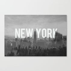 New York City Canvas Print.  Black and white, monotone, grey, typographical, typography, wall art, home decoration.