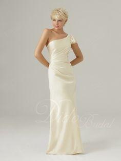 Draped One-shoulder Floor-length Chiffon Bridesmaid Dress