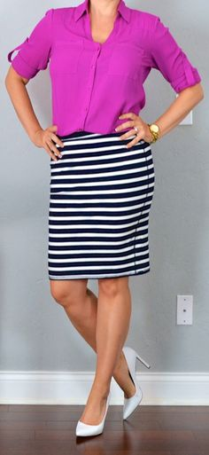 outfit post: pink portofino shirt, striped jersey pencil skirt, white pointed toe pumps
