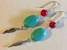 Silver Turquoise earrings,sterling silver earrings, coral earrings,silverbymaggie,drop earrings,dangle earrings,fashion jewelry,handmade by SilverByMaggie on Etsy