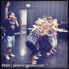 Heejun's the odd man out in this group hug at the end of the dance number for finale rehearsals. #idol