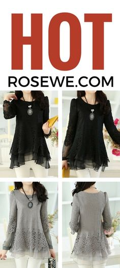 Layered Long Sleeve Lace Panel Grey Blouse for Women, free shipping worldwide.
