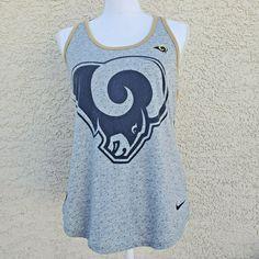 Nike Womens NFL Team Apparel LA Rams Dri Fit Tank Top Gray L #NikeNFL #Athletic #Casual Cut Up Shirts, Old Shirts, Tie Dye Shirts, Nike Shirts Women, Nike Pro Women, Running Tank Tops, Workout Tank Tops, Hot Topic Clothes, La Rams