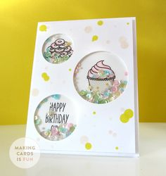 Happy Saturday everyone! :) In today's video I am showing you how to make a sequin shaker card using the new Sugar Rush stamp set from Winnie & Walter. Be sure to watch until the very end… Happy Birthday Girls, Diy Birthday, Window Cards, Card Making Techniques, Shaker Cards, Handmade Birthday Cards, Card Tutorials, Cool Cards, Kids Cards