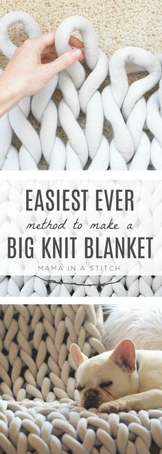 How To Easily Knit A Big Yarn Blanket - Chunky knit blanket diy - Such an easy way to make a big knit blanket without having to arm knit or needle knit! Perfect for - Big Yarn Blanket, Large Knit Blanket, Chunky Blanket, Square Blanket, Large Blankets, Pattern Floral, Extreme Knitting, Big Knits, Der Arm