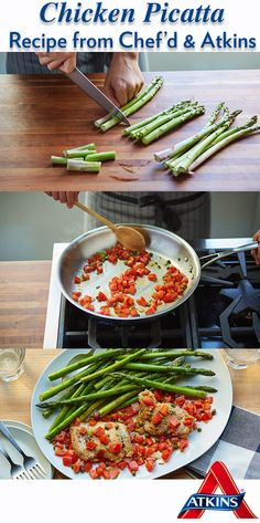This take on a classic combines fresh ingredients like asparagus, tomatoes, capers and chicken to create a low carb friendly dish. Try this recipe kit from Chef'd & Atkins today! Atkins Recipes, Asparagus, Tomatoes, Low Carb, Healthy Recipes, Dishes, Fresh, Chicken, Create