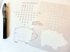 "Money Savings Tracker Stencil - Planner Stencil, fits Leuchtturm and Moleskine 5"" by 7"""