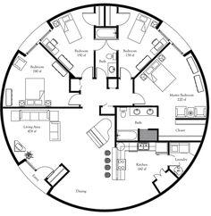 Plan Number: DL5001 Floor Area: 1,964 square feet Diameter: 50' 4 Bedrooms 2 Baths