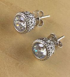 925   Silver Zircon Antique Filigree Earrings EDE0005|We combine shipping|No Question Refunds|Bid $60 for free shipping. Starting at $1