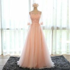 Applique Peach Half Sleeves Elegant Tulle Long Prom Dresses, BG51484 The dress is fully lined, 4 bones in the bodice, chest pad in the bust, lace up back or zipper back are all available. This dress c