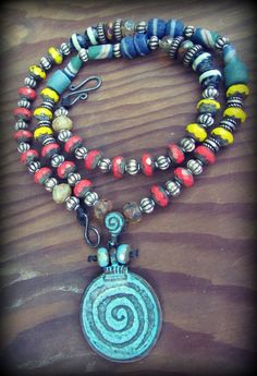 TRIBAL CIRCLE PENDANT NecklaceTurquoise by MoonDogStudios on Etsy