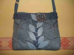 By Maria Miller -- denim bag with applique leaves