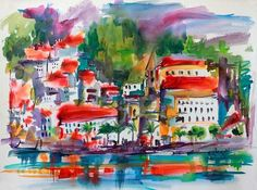 Amalfi Coast Expressive Watercolor Original - The Art of Ginette Callaway