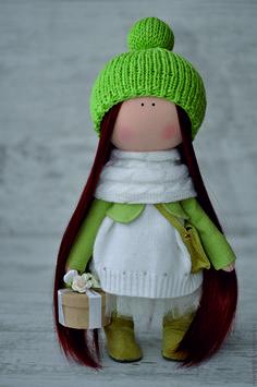 Купить Кукла интерьерная - комбинированный, зеленый цвет, интерьер, интерьерная кукла, кукла, подарок, хлопок