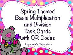 Students need so much practice with multiplication and division to build their understanding and fluency. These spring themed cute and fun task cards are a great way for students to practice and reinforce their skills.   The task cards address the 3rd grade CCSS for Operations and Algebraic Thinking. The types of problems included are: •Find the product •Find the quotient  •Find the missing factor •Find the missing divisor •Word Problems