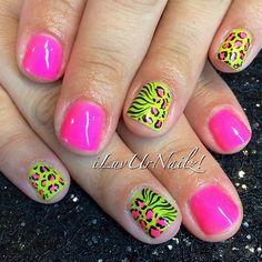 Natural Nail Gel Mani… #NeonNails