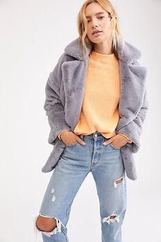 172b4eaf673f Solid Kate Faux Fur Coat - Gray Faux Fur Fuzzy Coat - Free People Coats -