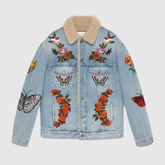 Gucci men's embroidered denim jacket with shearling