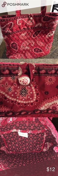 Vera Bradley tote Cute Vera Bradley tote in red in great condition other than wear on the handles Vera Bradley Bags Totes
