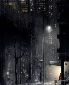 Pascal Campion, Time to wait. Pascal Campion, Smell Of Rain, City Scene, Aesthetic Drawing, Urban City, Night City, Environment Design, City Art, American Artists