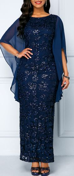 Navy Sequin Embellished Chiffon Panel Lace Maxi Dress - How To Be Trendy Long African Dresses, African Lace Styles, Latest African Fashion Dresses, Women's Fashion Dresses, Fashion Fashion, Lace Dress Styles, Lace Dresses, Dress Lace, Chiffon Dress