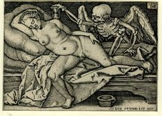 "Death and the sleeping woman ""O. Die Stund ist aus"" (Oh, the hour has come.') Engraving made by Sebald Beham after Barthel Beham, 1548"